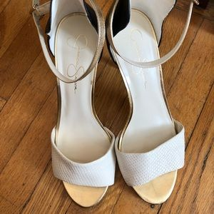 Black/white/gold pumps with ankle strap. Sz 10